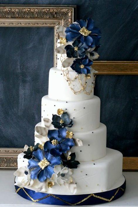 Торт для бело-синей свадьбы