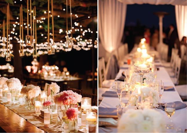 Световое оформление свадебного стола