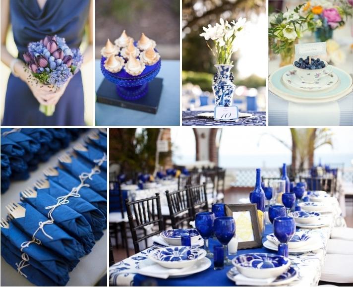 синяя сервировка свадьбы