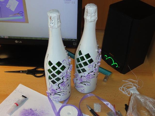 декор свадебного шампанского своими руками