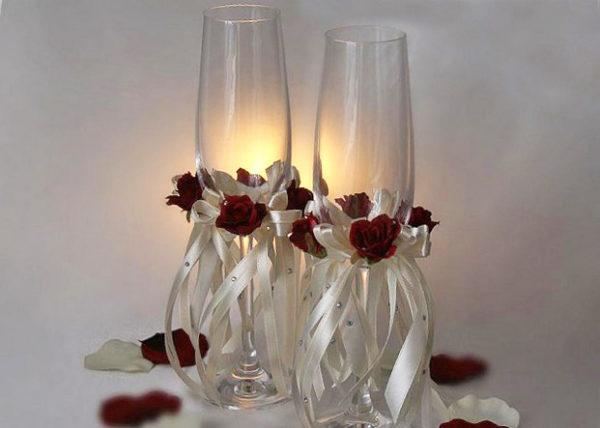 оформление бокалов для свадьбы