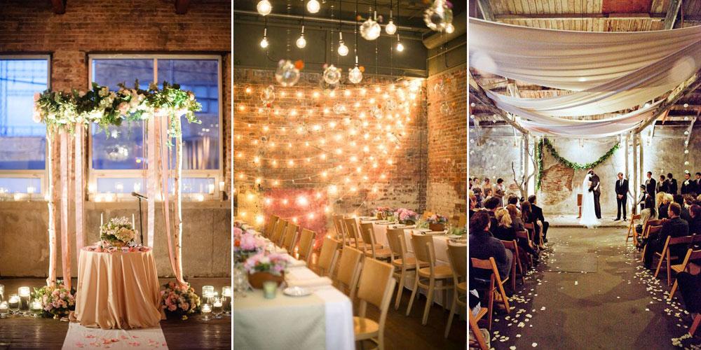 Световое оформление свадьбы в стиле лофт