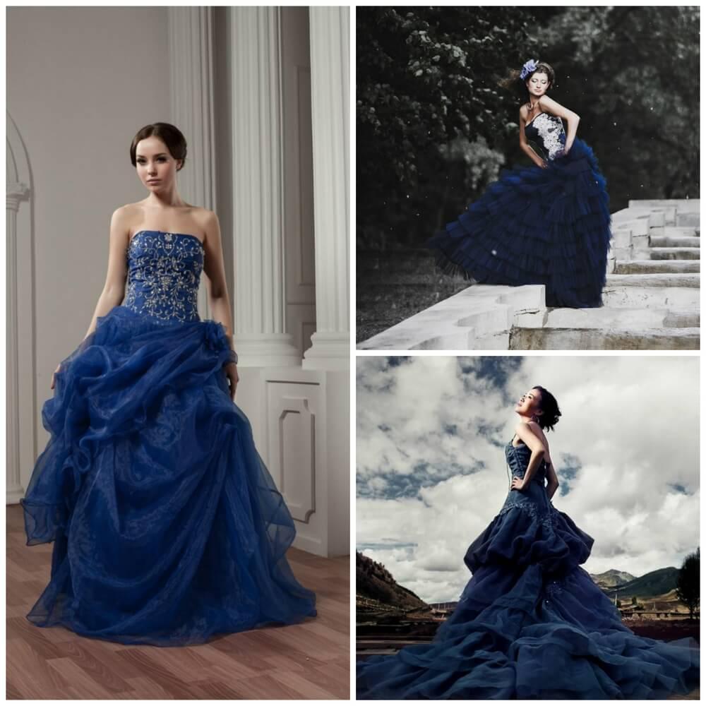 Платье в синих тонах