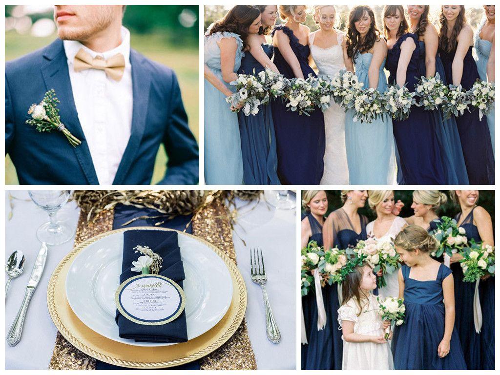 Белый и синий цвета в оформлении свадьбы