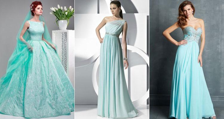 Бирюзовые платья невесты