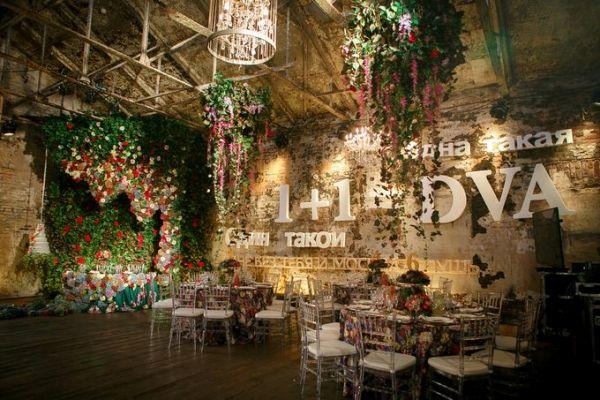 свадебный зал в стиле лофт