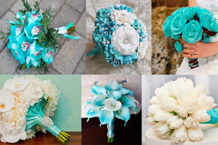 Бирюзовые букеты невесты