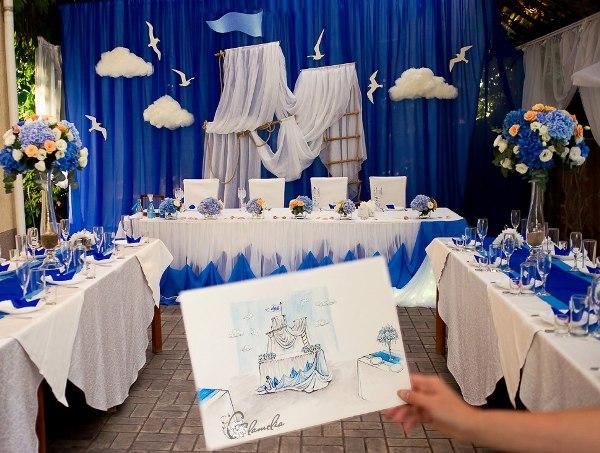 оформление свадебного зала в морском стиле