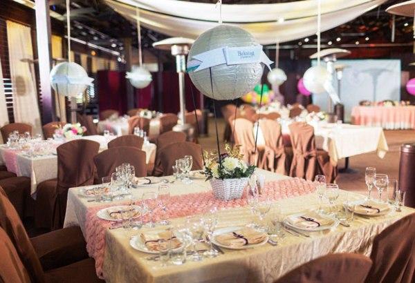оформление свадебного зала в стиле путешествия
