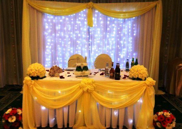 оформление свадебного зала в желтом цвете