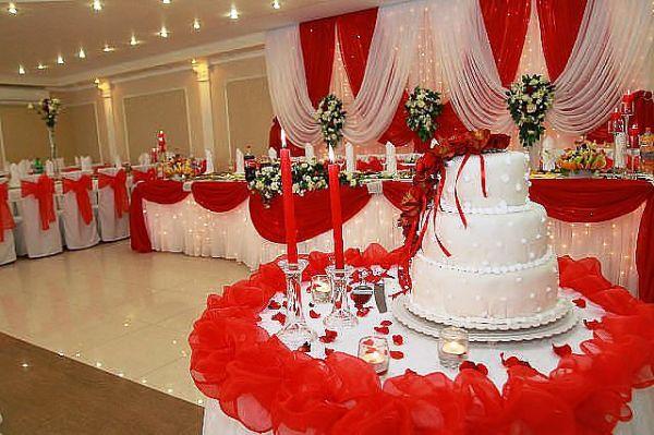 оформление зала для свадьбы в красном цвете