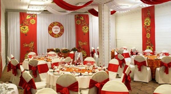 оформление зала для свадьбы в русском стиле
