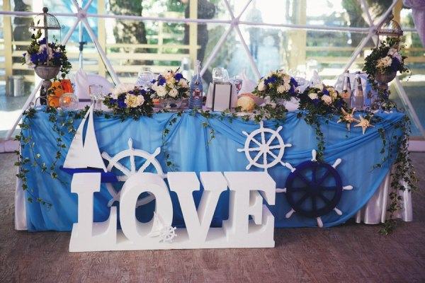 офрмление морской свадьбы