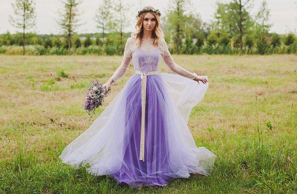 платье невесты для лавандовой свадьбы